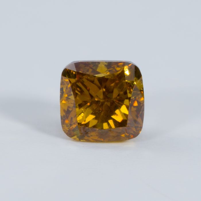 Diamant - 0.37 ct - Coussin - Natural Fancy Orangy Yellow - Si2 - NO RESERVE PRICE