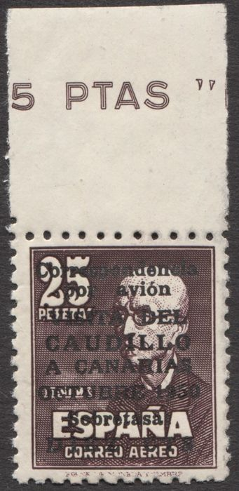 Spain - Local issues 1951 - Visit of Franco to the Canary Islands. Graus certificate. - Edifil 1090