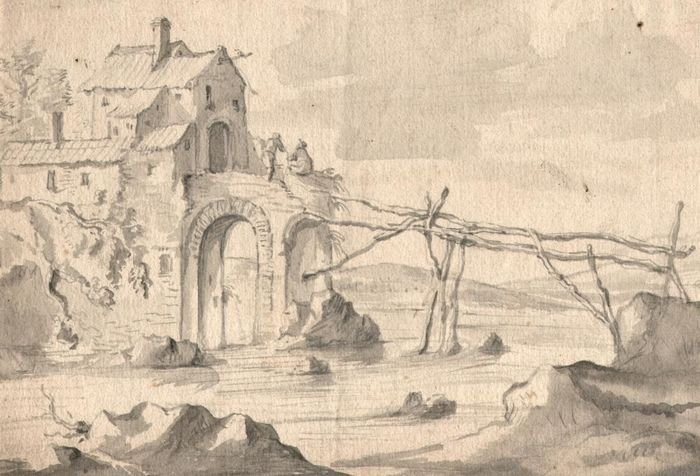 Follower of Herman Saftleven (1609-1685) - Riverscape with ruined bridge