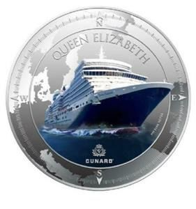 Pitcarin Islands. 2 Dollars 2013  Cunard Lines Queen Elizabeth   - 1 Oz