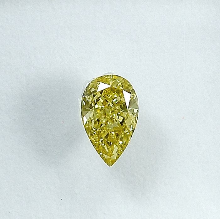 Diamant - 0.21 ct - Poire - Natural Fancy Light Yellow - Si1 - NO RESERVE PRICE