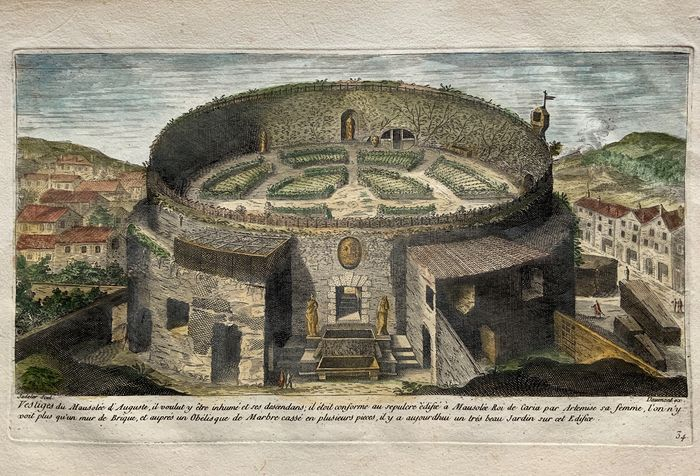 Marco Sadeler (1614 - 1660); Daumont ex - 'Mausoleen d'August', Mausoleum of Augustus, Rome - Rome, Italy - Rare French Edition c 1660