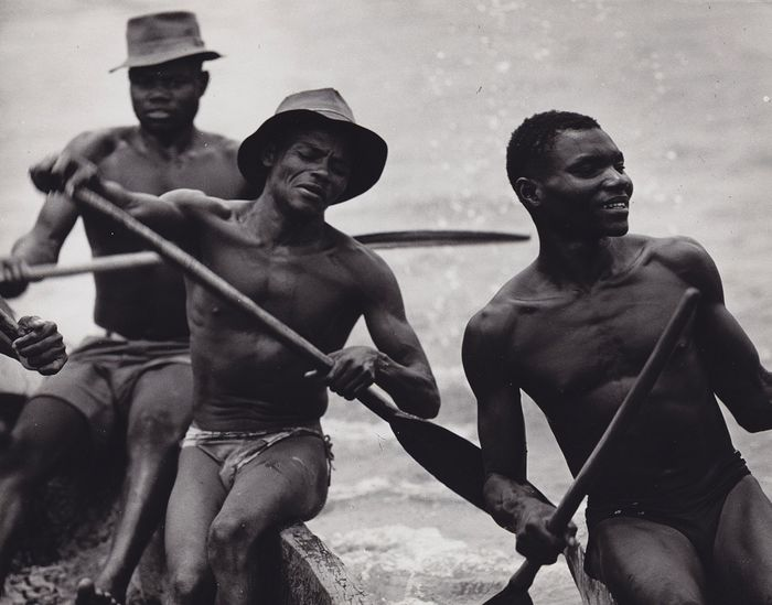 Rune Hassner (1928-2003) - 'Crossing the River', Nigeria