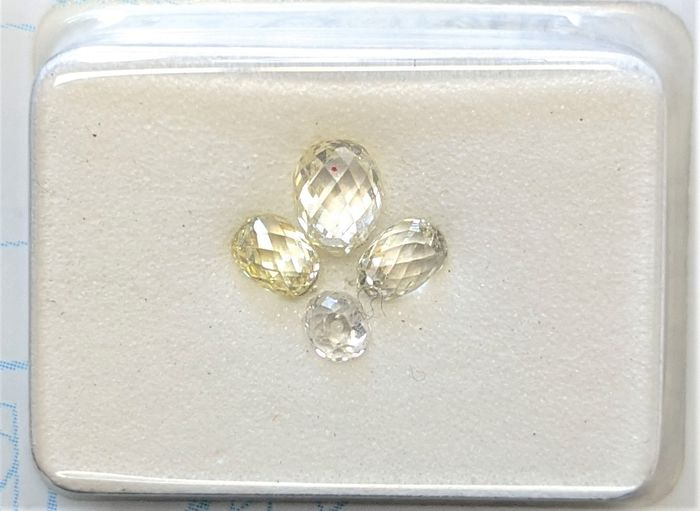 4 pcs Diamants - 1.04 ct - Briolette - Mix Colors - VS1, VS2, VVS1, VVS2, No Reserve Price