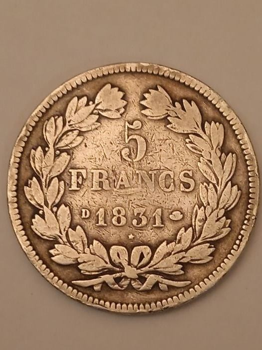 France. Louis Philippe I (1830-1848). 5 Francs 1831-D, Lyon