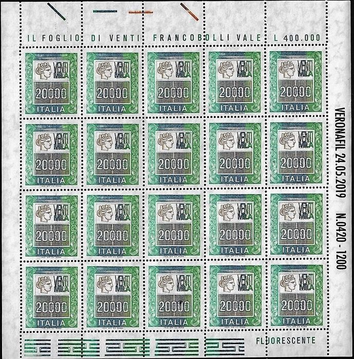 République d'Italie 2019 - Souvenir sheet high values 20,000 lire with overprint Veronafil 24.05.2019 - Sassone N. 19A 23a