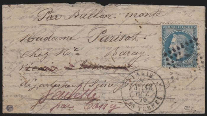 """Frankrijk 1870 - """"Le Garibaldi"""" balloon mail, postmarked """"Les Ternes"""" bound for Cany, Roumet certificate."""
