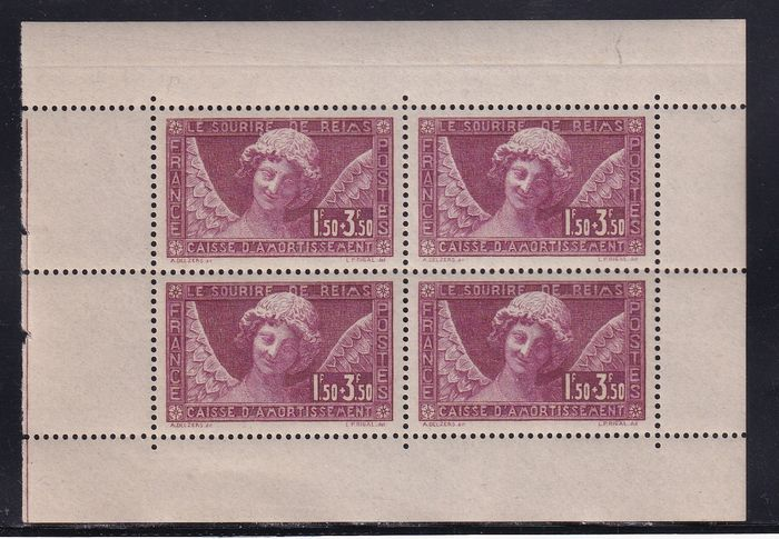 France 1930 - Cathedral of Reims in block of 4 - Yvert 256