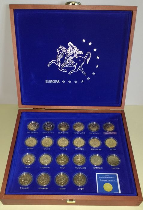 Europa. 2 Euro commemorative 2012 '10 years euro cash' gold plated with San Marino in box (complete 22 pieces)