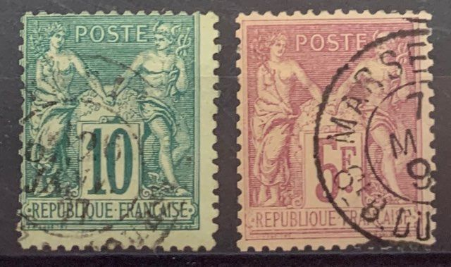 Frankrijk - No. 76 and 95b, 10 centimes green and 5 francs bright lilac, cancelled. F/VF. - Yvert 76 et 95