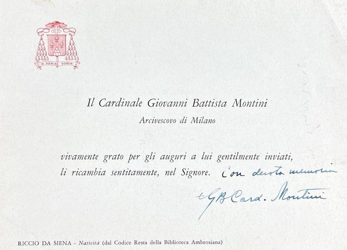 Saint Pope Paolo VI (Giovanni Battista Montini) - Autograph; Signed letter with thanks and best wishes from Milan - 1943