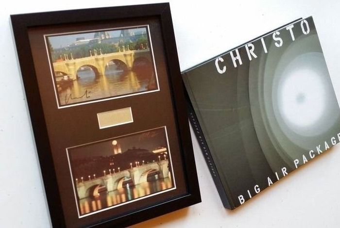 Christo and Jeanne Claude - Big Air Package & 2 Pont Neuf handsigned art cards and framed - 2013