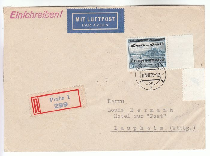 Bohemen en Moravië 1939 - Highest value of the overprint set as rare single franking on registered airmail cover - geprüft Mahr BPP - Michel-Nr. 19 als Einzelfrankatur