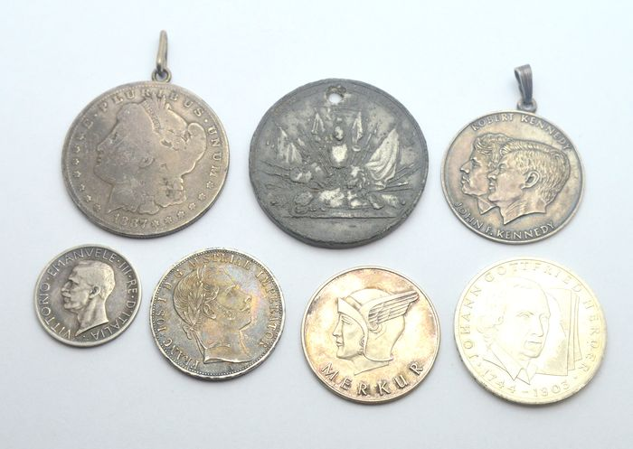 World. Lot various coins and medas (7 pieces) with 6x silver