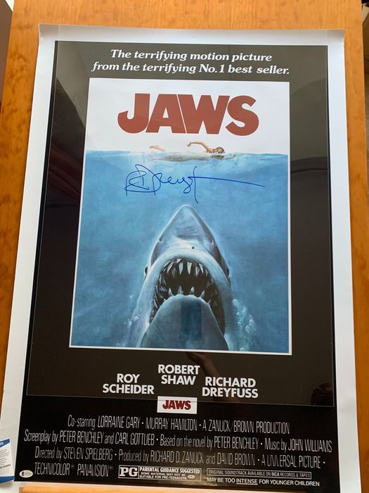 Jaws - Richard Dreyfuss (Matt Hooper) - Handtekening, Poster, Hand-signed , private signing # 75/155 - with COA