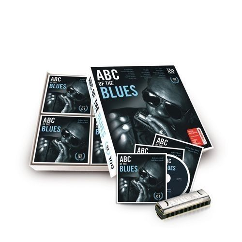"""Various Artists In Blues  """"ABC Of The Blues  (Ultimate Collection From The Delta To The Big City) - Special Edition 52 CD Box !!  including Hohner Puck harmonica !! - CD Box set, Médias divers (voir description) - 2010/2010"""
