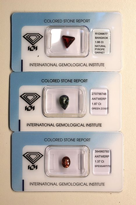 3 pcs No Reserve Price Collector 3 pieces of a Garnet, Zoisite - 4.90 ct