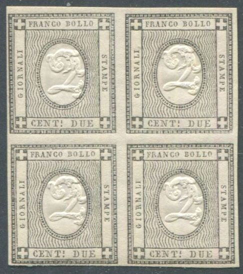 Italiaanse oude staten - Sardinië - Newspapers 2 cents, very fresh block of four. - Sassone N. 20