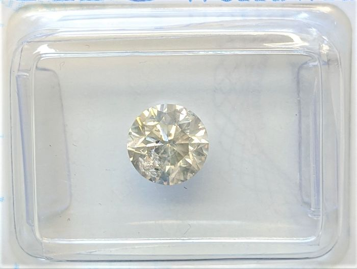 Diamant - 0.95 ct - Brillant - Légèrement fantaisie gris jaune - SI2, No Reserve Price