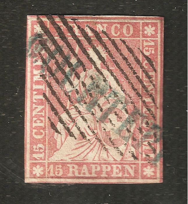 Switzerland 1856 - STRUBEL, 24 francs with 2 silk threads - Zumstein 24F (SH 24B1m) / Michel 15IIAzm