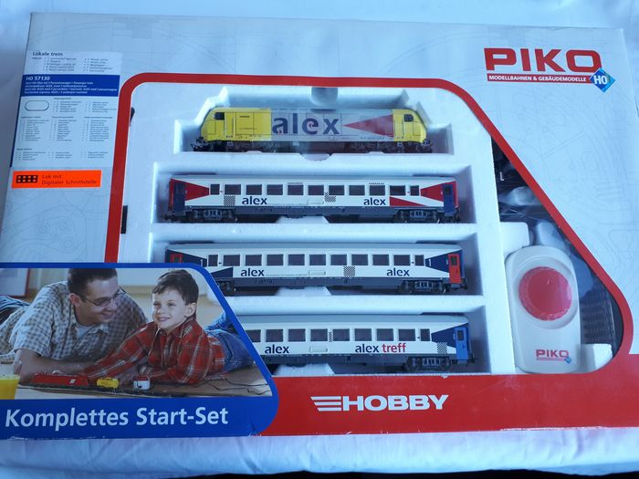 """Piko H0 - 57130 - Treinset - with dieselloc """"Herkules"""", 3 wagons, tracks and power supply - Alex"""