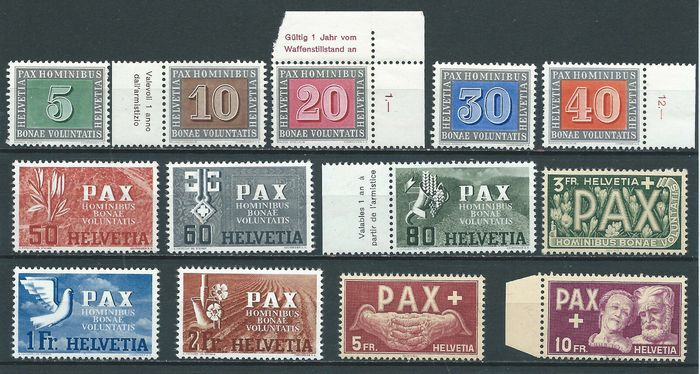 Switzerland 1945 - Peace set - Unificato NN. 405/417