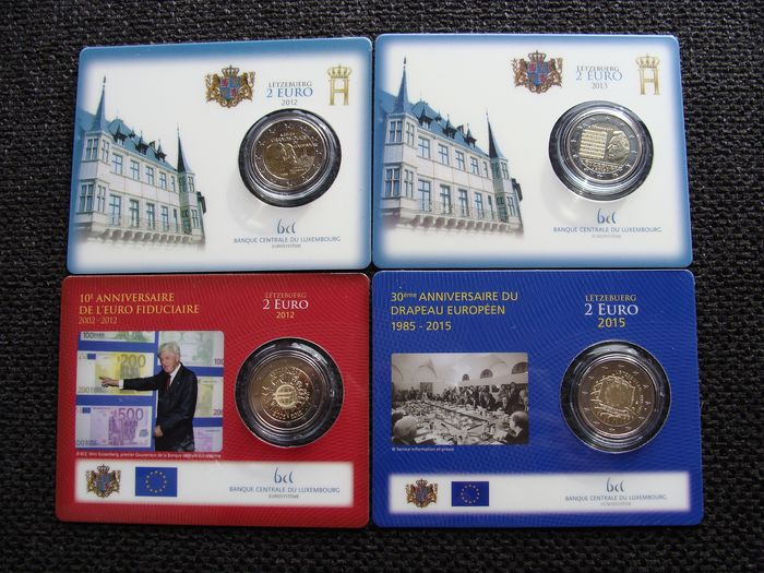 Luxembourg. 2 Euro 2012/2015 BU in Coincards (4x)