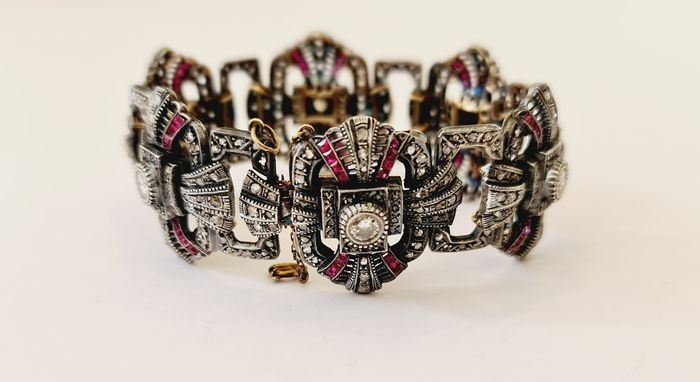 19,2 quilates Oro - Brazalete - 2.11 ct Rubí - Diamantes