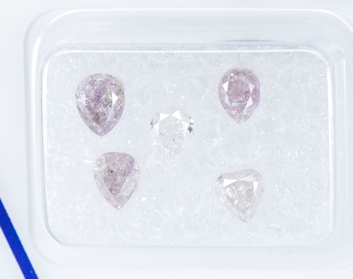 5 pcs Diamantes - 1.53 ct - Natural tenue a rosado purpúreo elegante - I3 *NO RESERVE*