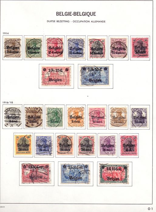 België 1914/1921 - Complete collection of occupation stamps on DAVO album sheets - OBP / COB OC1/105  GESTEMPELD
