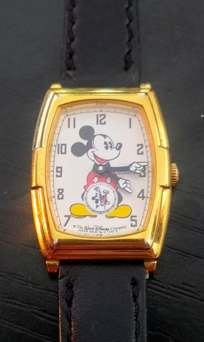 Mickey Mouse - Seiko-Walt Disney Mickey Mouse Rectangle Gold Bezel Animated Wristwatch w/ Norwegian Leather Band