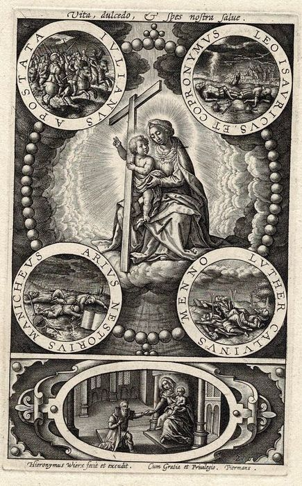 Hieronymus Wierix (1553-1619) - The Virgin of mercy: the resurrected, the sick, the sinners and the prisoners