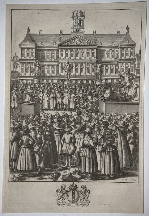 Isaac Sailmaker (1633-1721) - Large etching - Frogs as Citizens before the Town Hall in Amsterdam - 1665