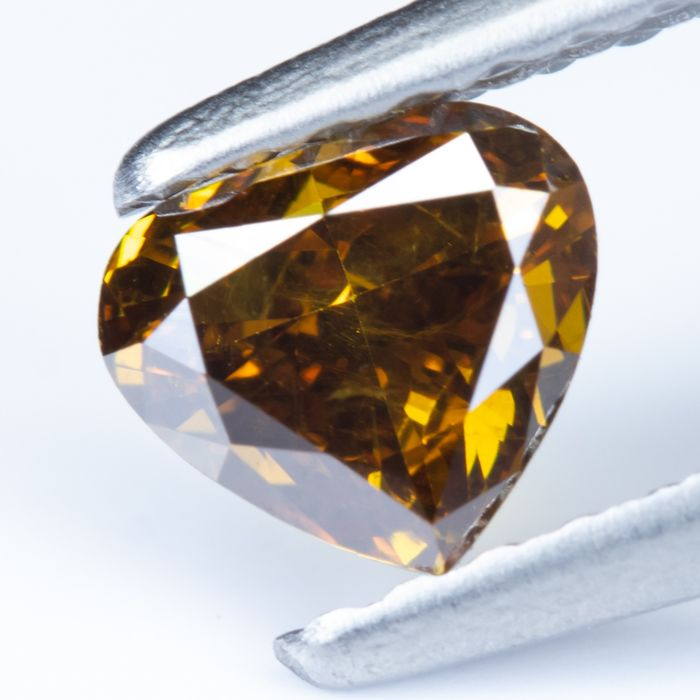 Diamant - 0.45 ct - Naturel Fancy Dark Brownish Yellowish Orange - SI2 *NO RESERVE*