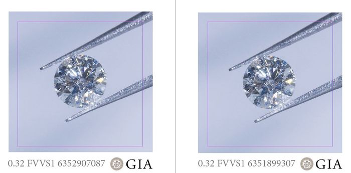 2 pcs Diamants - 0.64 ct - Brillant - F - VVS1, PAIR