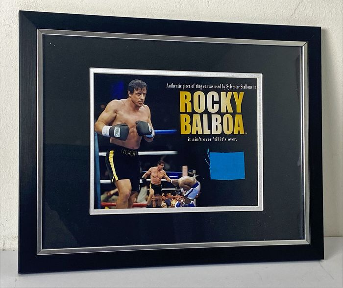 """Rocky - Sylvester Stallone - Framed Still with Screen Used Boxing Ring Canvas from """"Rocky Balboa"""" - Foto"""
