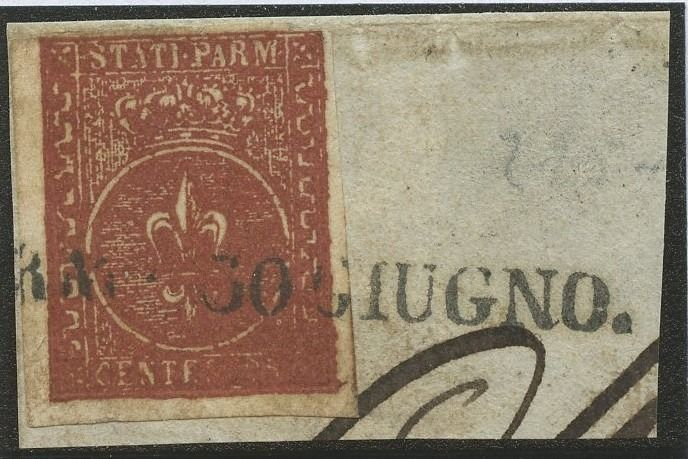 Italian Ancient States - Parma 1853 - II issue - 25 cents brown red used on fragment - Sassone N. 8