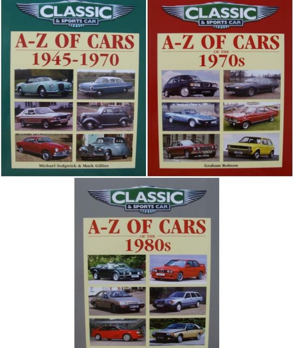 Boeken - A-Z of Cars 1945-1970 + A-Z of Cars of the 1970s  +  A-Z of Cars of the 1980s - .