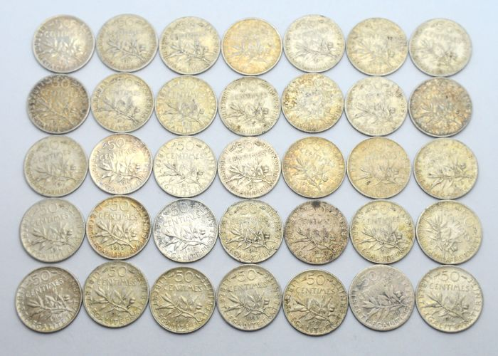 France. 50 Centimes 1898/1919 (lot of 35 coins)