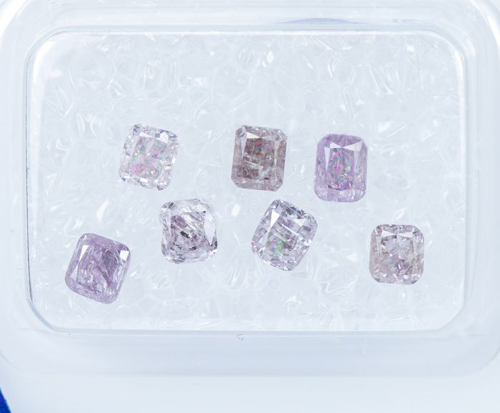 7 pcs Diamantes - 1.20 ct - Luz de fantasía natural a rosado purpúreo / rosa-púrpura - I2-I3 *NO RESERVE*