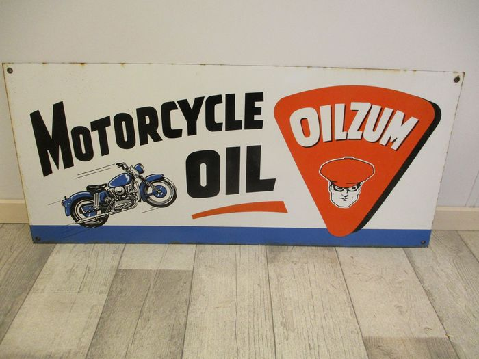 Signe - Reclamebord - Oilzum Motorcycle Oil - 1950-1960