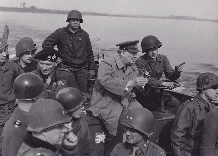 Unknown - Operation Plunder  - Winston Churchill and  Marshal Bernard Montgomery cross the Rhine, 1945
