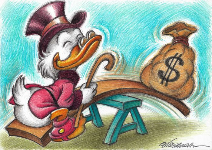 Rich Scrooge McDuck In The Park - Original Drawing - Joan Vizcarra Signed
