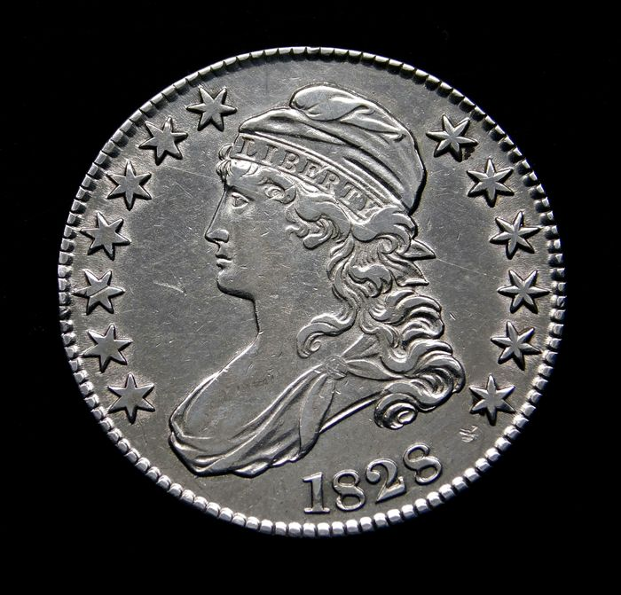 United States. Half Dollar 1828 Capped Bust, Square Base 2, Small 8's, Large Letters.