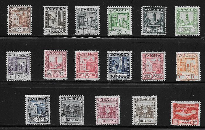 Andorra - Spaans 1935/1943 - 2nd series of Landscapes of Andorra. Well centred and certified key values. - Edifil 28/44