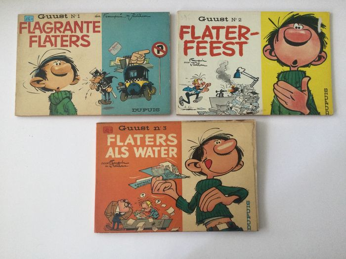Guust Flater 1, 2, 3 - Flagrante flaters - Flaters als water - Flaterfeest - Softcover - (1963/1966)