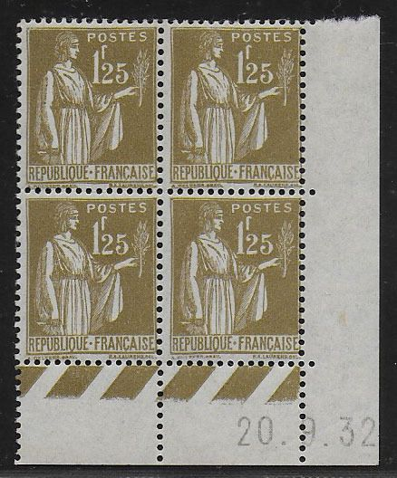 Frankreich 1932 - 1.25 Fr. Paix 4-block with coin date ('33) - Yvert 287 (4x)