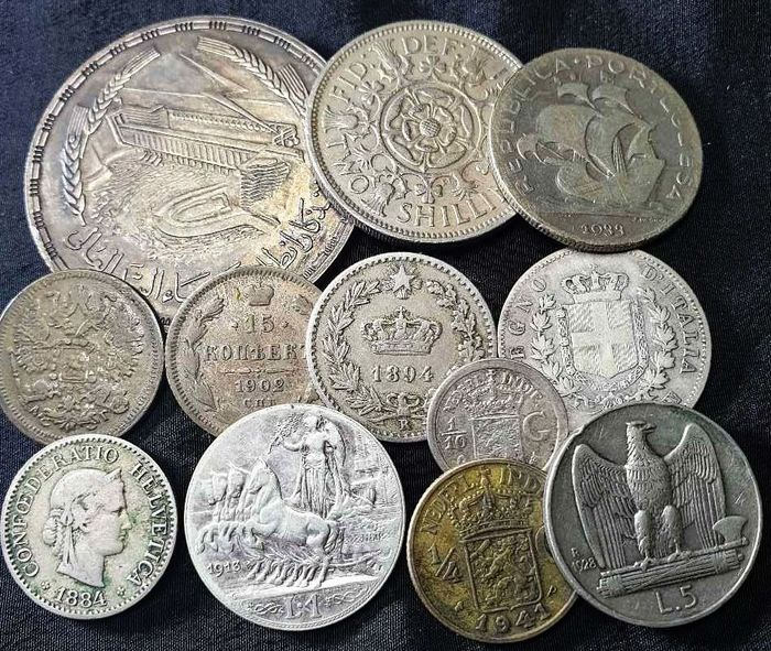 Wereld. Lot various coins 1893/1961 (12 pieces) with 9x silver