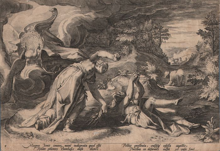 Hendrick Goltzius (1558-1617) - Juno grabbing Callisto who's changing in a bear - First state