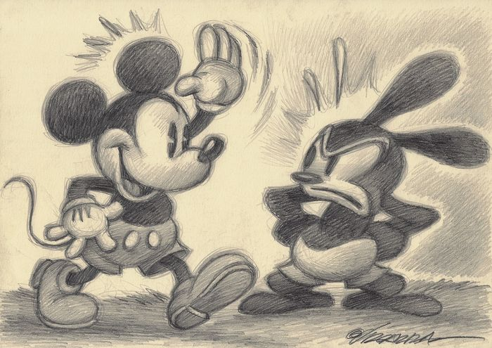 Mickey Mouse and Oswald the Lucky Rabbit - Original Drawing - Joan Vizcarra
